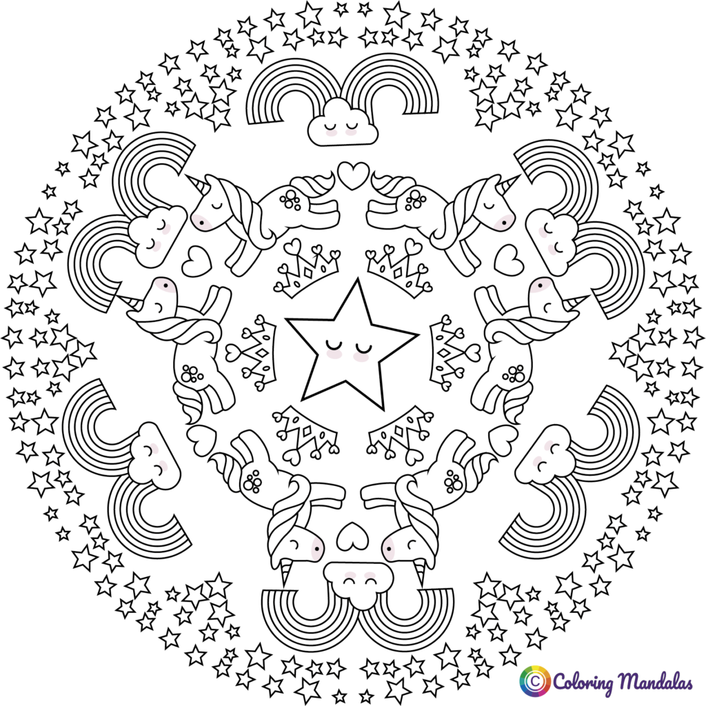 Unicorns mandalas | Coloring Pages for Kids