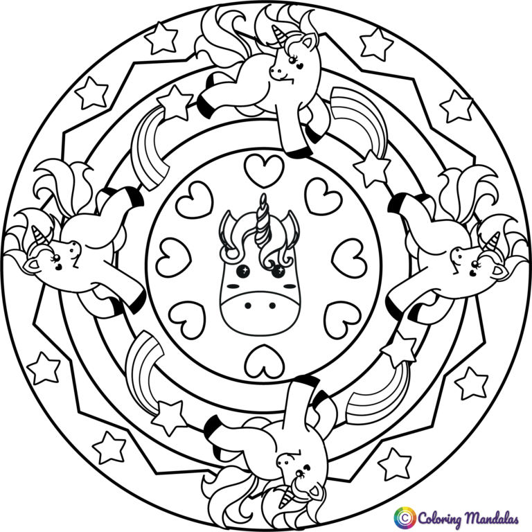 Unicorns mandalas | Coloring Pages for Kids